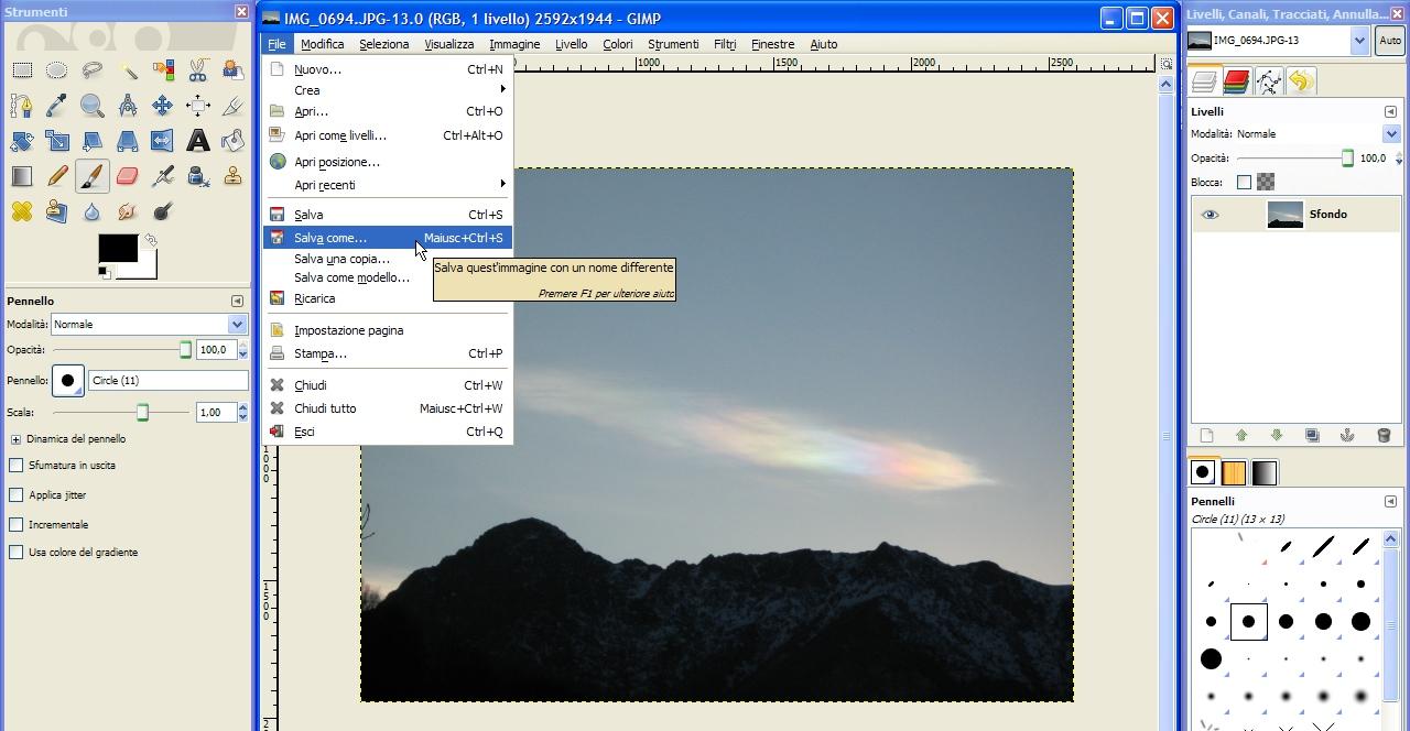 GIMP: Ridimensionamento delle Immagini