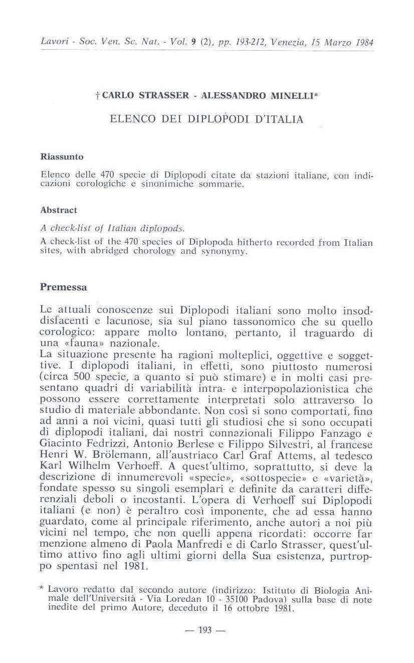 C.Strasser & A.Minelli (1984)  Elenco dei diplopodi d''Italia